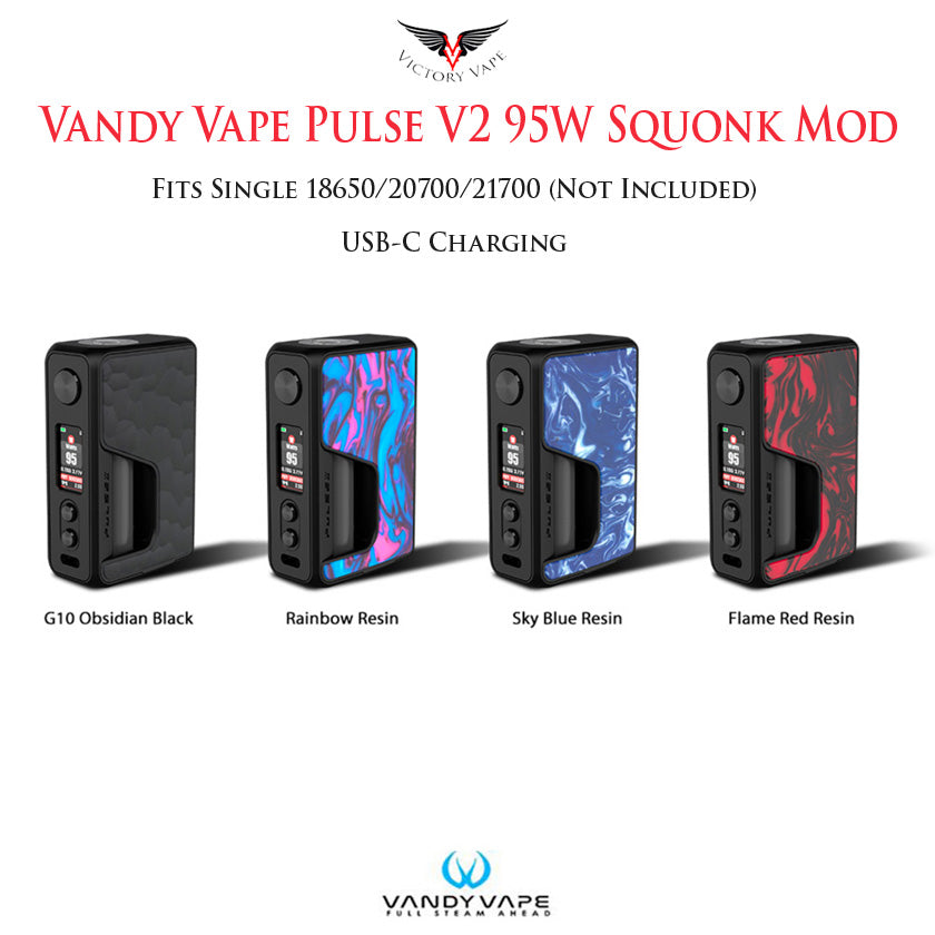 Vandy Vape x Tony B PULSE V2 95W Squonk vv/vw Mod • 18650/20700/21700 USB-C Charging