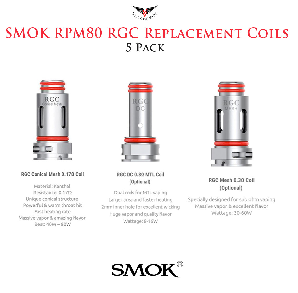 SMOK RGC Replacement Coils • 5 Pack (for RPM80 & RPM80 Pro)