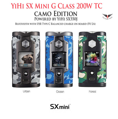YiHi SX Mini G Class 200W TC vv/vw Mod • Powered by YiHi SX550J • Bluetooth (Android only)