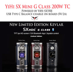 YiHi SX Mini G Class 200W TC vv/vw Mod •  YiHi SX550J Chip • Bluetooth