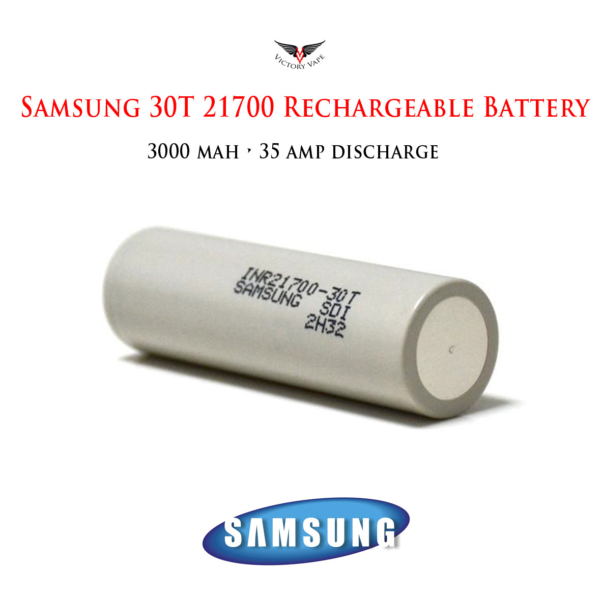 Samsung 30T 21700 • 3000mAh 35A rechargeable battery