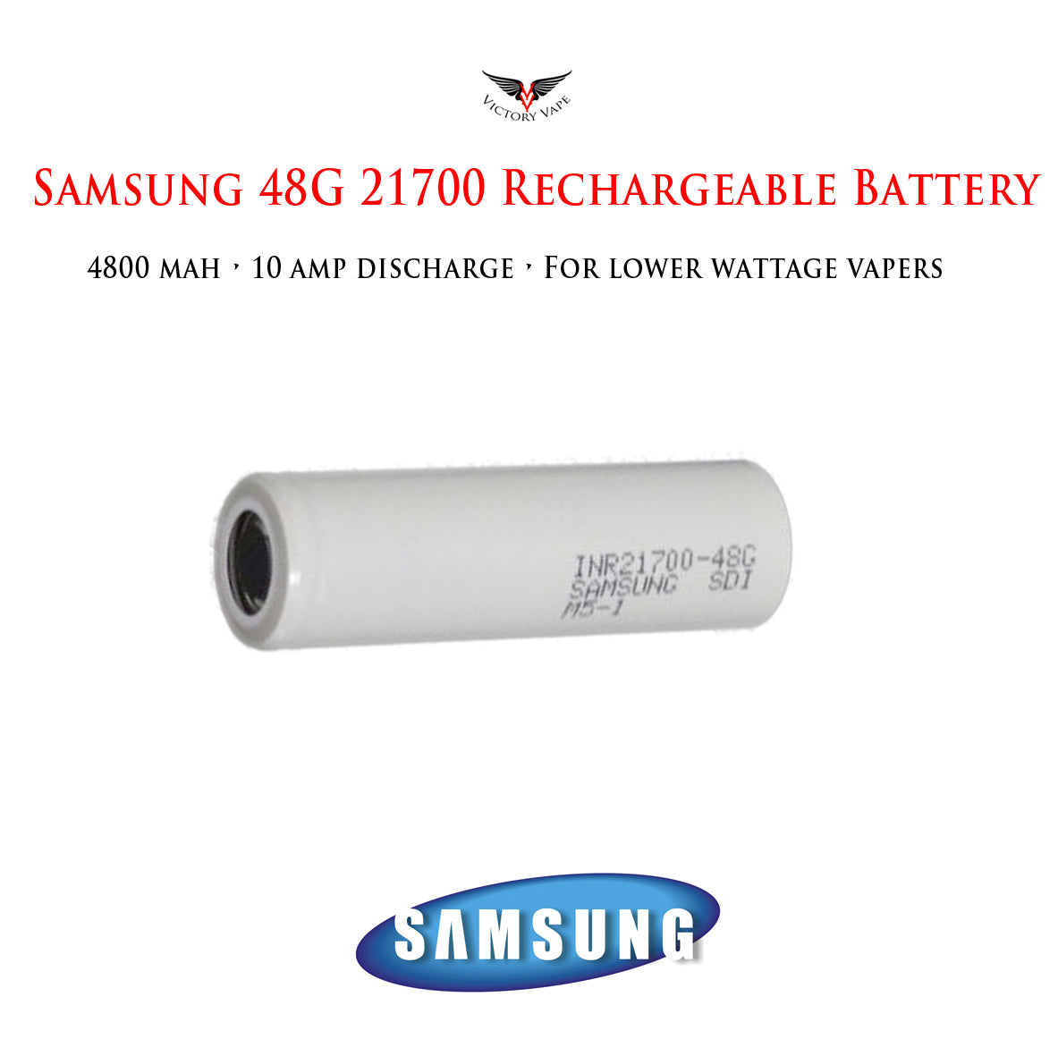 Samsung 48G 21700 • 4800mAh 10A rechargeable battery