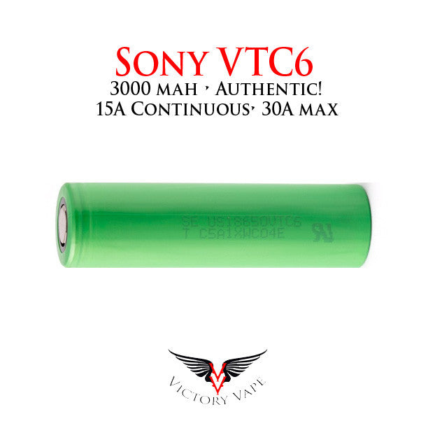 SONY VTC6 18650 Battery • 3000 mAh 15A continuous