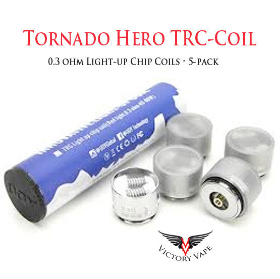 Tornado Hero TRC-Coil • 5 Pack 0.3 ohm Light-up Chip Coils