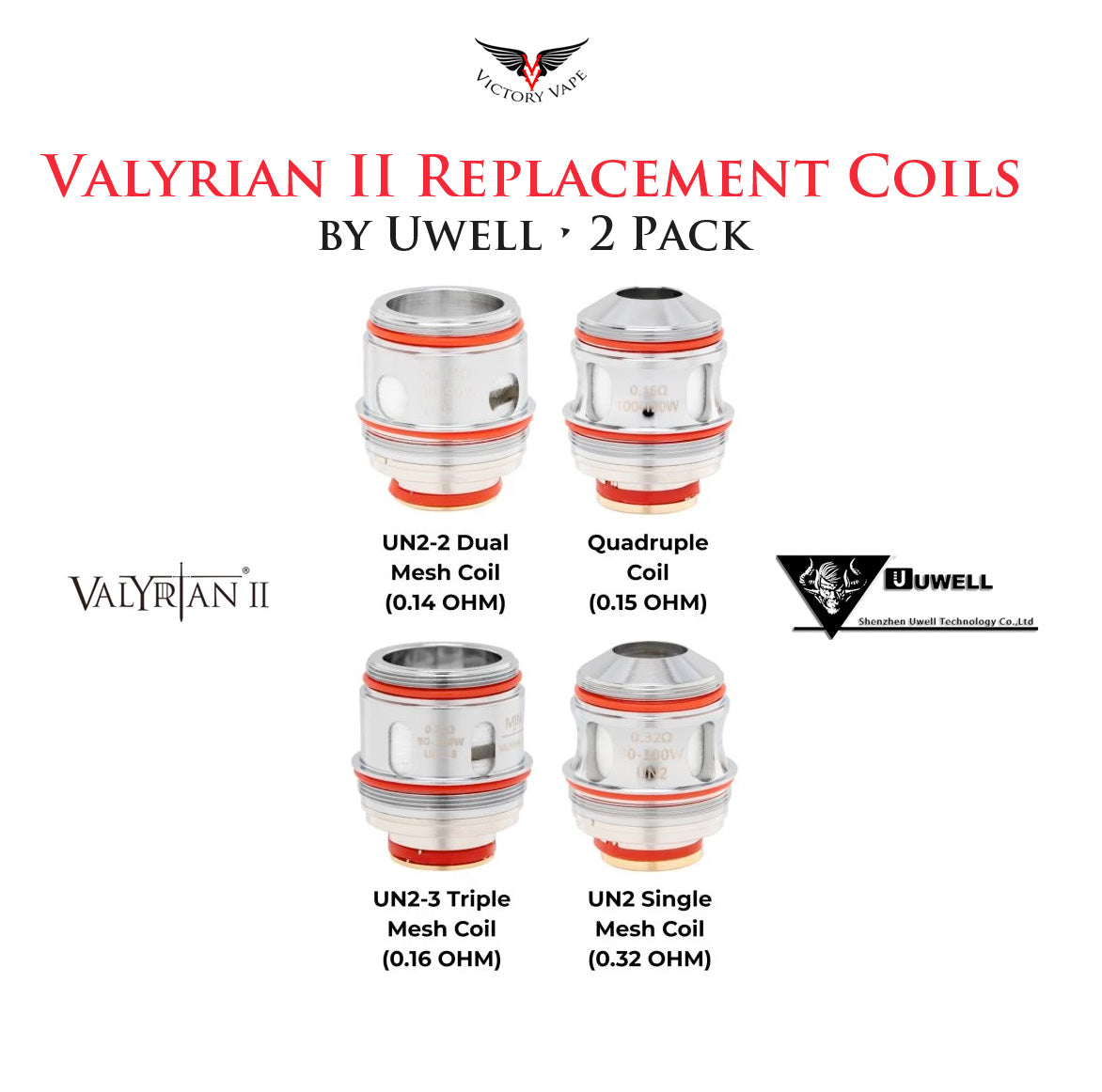 Uwell Valyrian II 2 Replacement Coils • 2 Pack