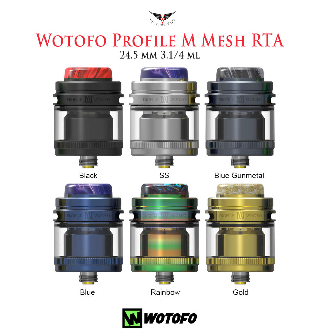 Wotofo Profile M Mesh RTA • 24.5 mm 3.1 ml straight /4 ml bubble