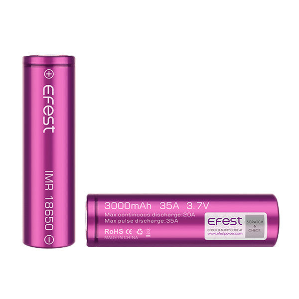 rechargeable battery batteries battery Efest IMR 18650 flat top battery available in 3000 mah 35A Efest Purple 18650 IMR Battery efest batt 18650