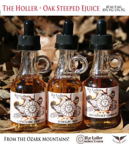 The Holler Ejuice • 85VG/15PG • Oak Barrel steeped in the Ozark Mountains USA