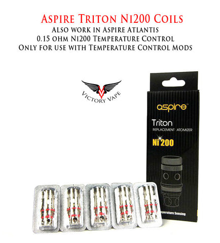 Aspire Triton/Atlantis/Atlantis 2 Replacement Coils • 5 pack 0.15 ohm Ni200 for Temp Control