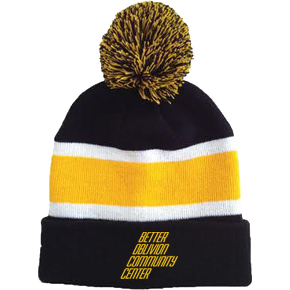 BOCC - Logo Pom Beanie Black and Yellow