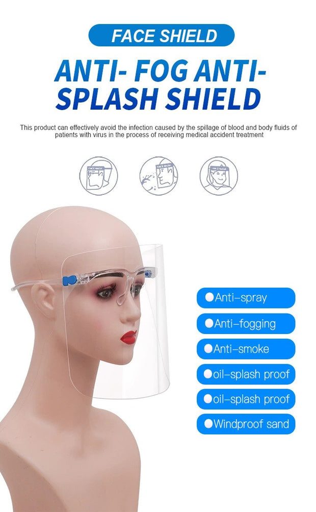 Face Shields with Glasses Frames - Ultra Clear Protective Full Face Shields to Protect Eyes, Nose, Mouth - Anti-Fog PET Plastic Sanitary Droplet Splash Guard