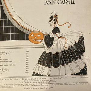 Sheet Music JACK O' LANTERN 1917 By IVAN CARYLL Halloween Victorian Art Pumpkin