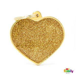 Médaille pour chiens - Shine Grand Coeur Glitter or