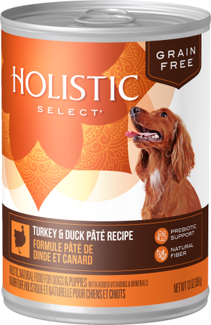 Nourriture humide pour chiens Holistic Select Grain Free Turkey & Duck Pâté 12 x 13oz