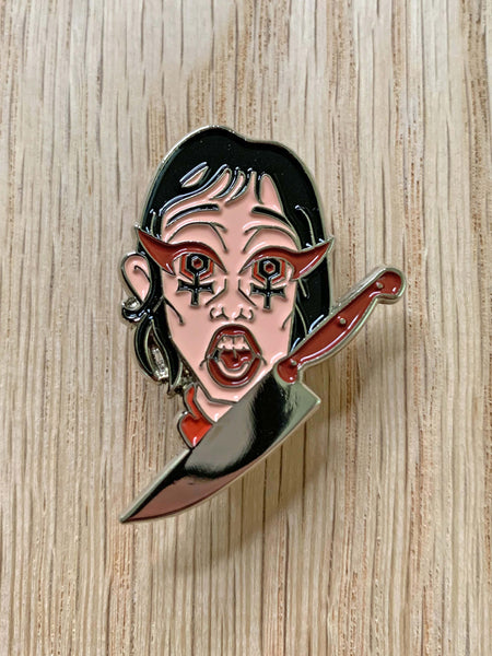 Wendy Torrance from Stanley Kubrick's The Shining horror movie enamel pin.