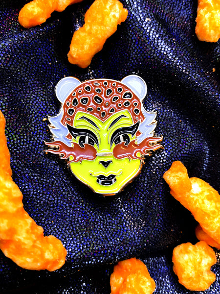 Cheeto e-girl Succubus snack enamel pin.