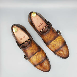 Xavi Cognac Double Monk Shoes