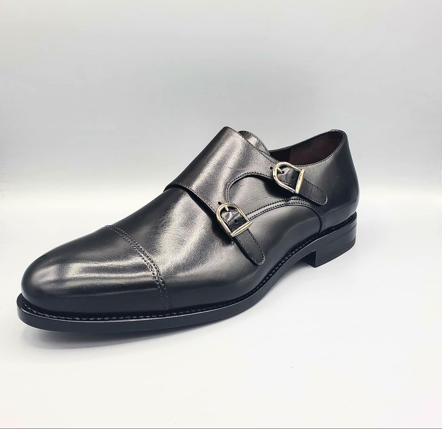 Xavi Classic Black Double Monk Shoes