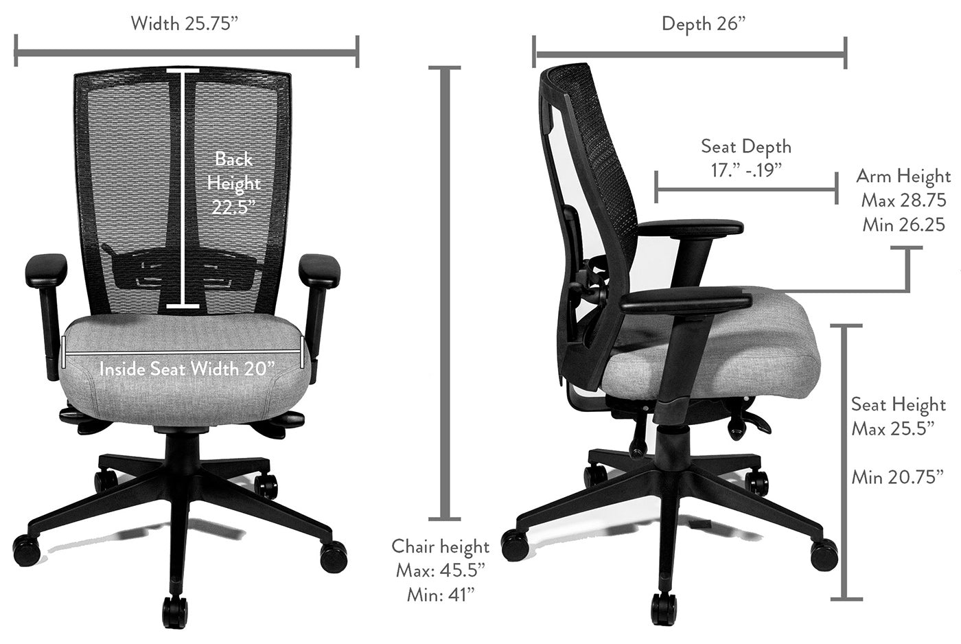 seating inc chair dimensions