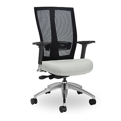 Grid Square Chair with Silver base, with Arm rests