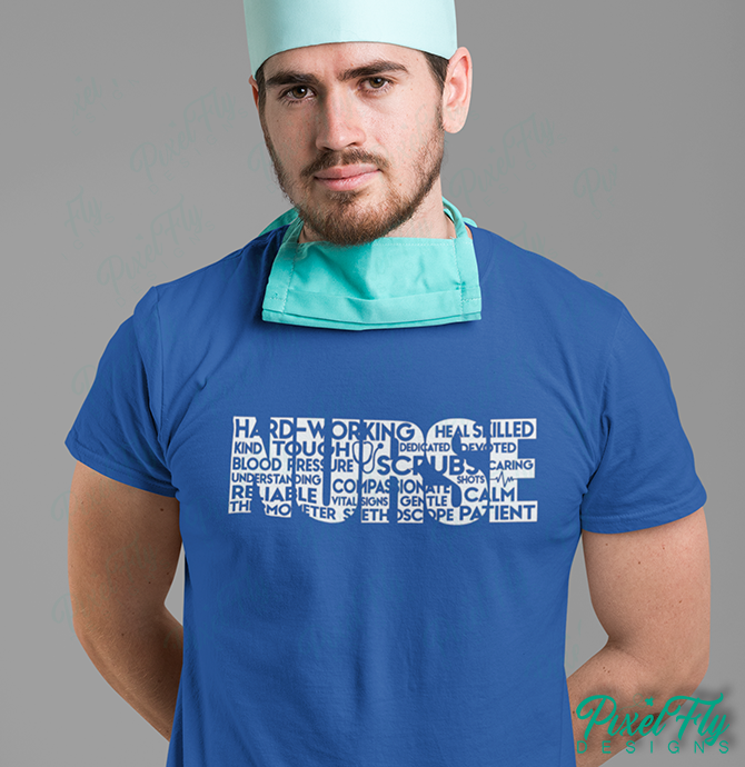 Nurse Design men's and women's t-shirt in blue, size medium