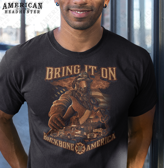 Bring It On Backbone of America (Firefighter) men's and women's t-shirt in black, size medium