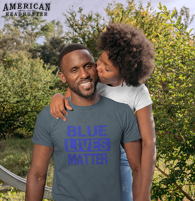 Police Lives Matter (Backing The Blue) men's and women's t-shirt in dark heather, size medium