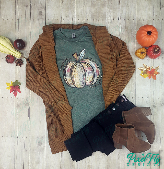 Pastel Rustic Pumpkin women's tshirt in heather forest green, size small