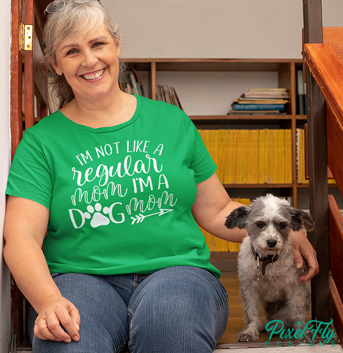I'm Not A Regular Mom, I'm A Dog Mom women's t-shirt in irish green, size medium