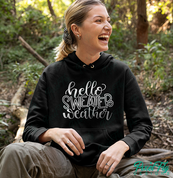 Hello Sweater Weather women's shirt women's hoodie in black, size medium