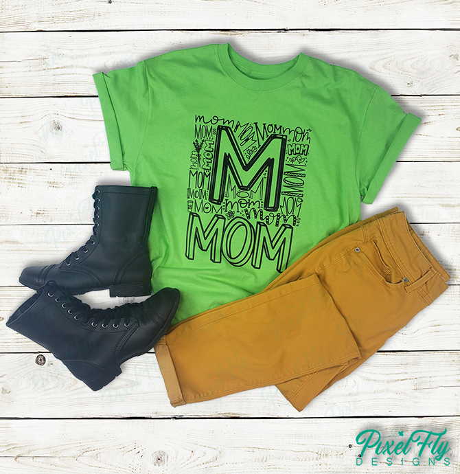 T-Shirt - Mom in neon green, size small