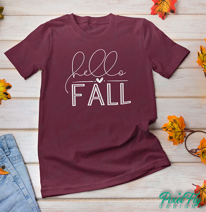 T-Shirt - Hello Fall, in color maroon, size small