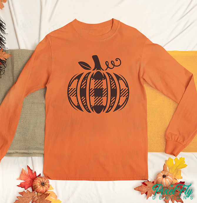 Long-Sleeve T-Shirt - Plaid Pumpkin, in color orange, size small