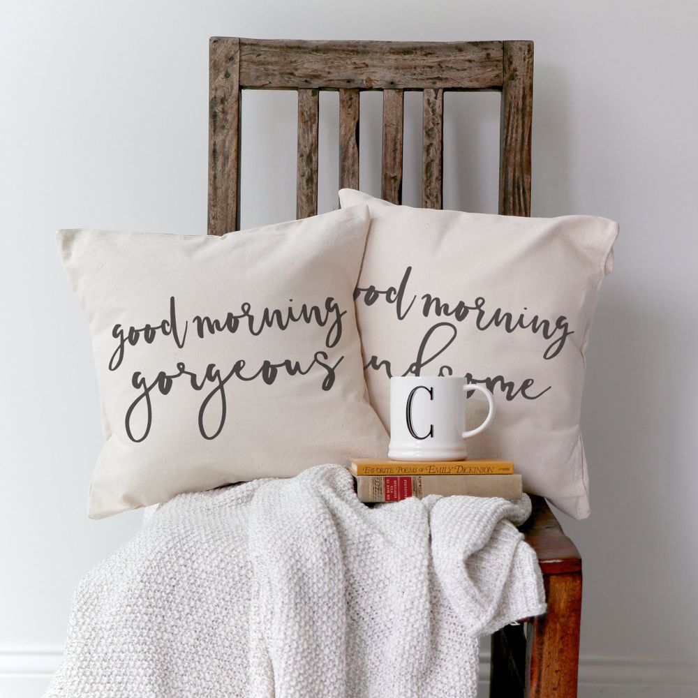 Good Morning Gorgeous and Handsome Pillow Covers, 2-Pack