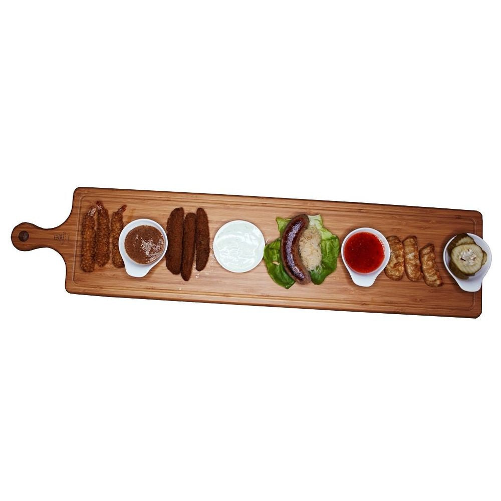 "SET OF 2  LONG SERVING BOARDS WITH HANDLE 39.4"" X 5.9"" 