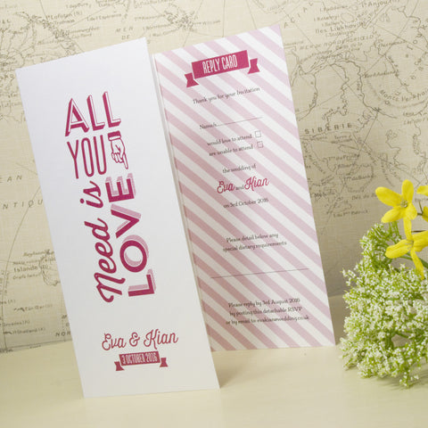 'All You Need' Ivory Tri-Fold Wedding Invitation