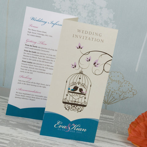 'Elegant Bird Cage' Tri-Fold Wedding Invitation