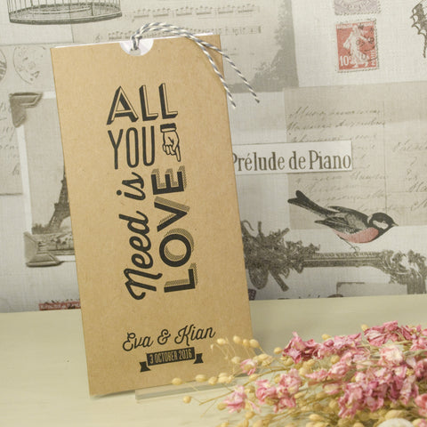 'All You Need' Kraft Wallet Wedding Invitation