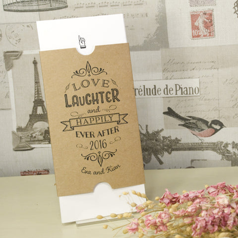 'Happily Yours' Vintage Kraft Wedding Invitation