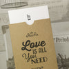 'Love Is All You Need' Kraft Wallet Wedding Invitation-Close Up