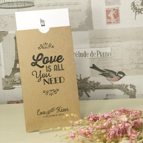 'Love Is All You Need' Kraft Wallet Wedding Invitation