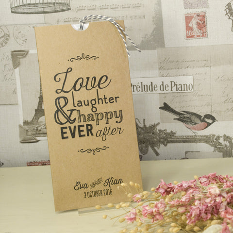 'Love Laughter' Kraft Wallet Wedding Invitation