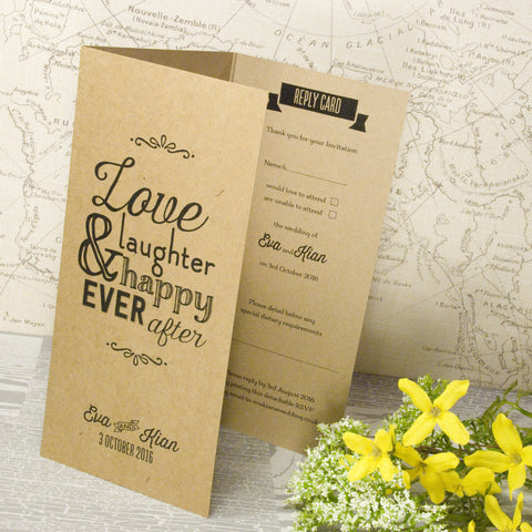 'Love Laughter' Kraft Tri-Fold Wedding Invitation