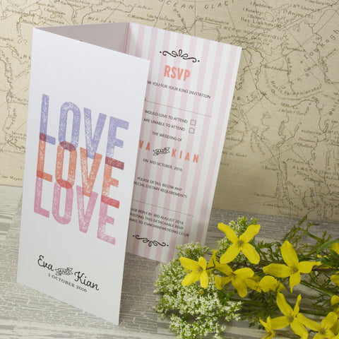 'Love Love Love' Tri-Fold Wedding Invitation