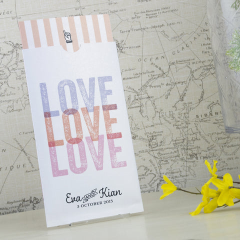 'Love Love Love' Wallet Wedding Invitation