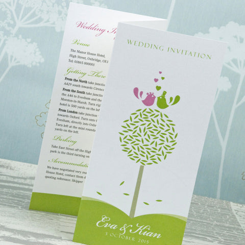 'Tweet Love Twee' Tri-Fold Wedding Invitation