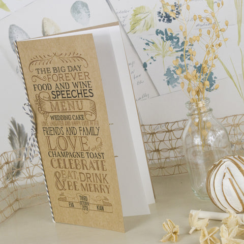 'Vintage' Kraft Wedding Menu