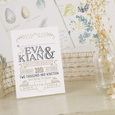 'Vintage' Ivory Wedding Save The Date Postcard