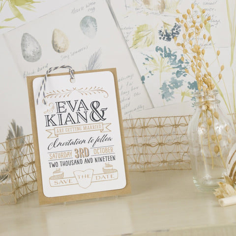 'Vintage' Wedding Save The Date Tags