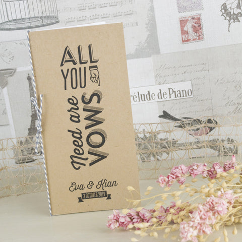'All You Need' Kraft Wedding Order of Service